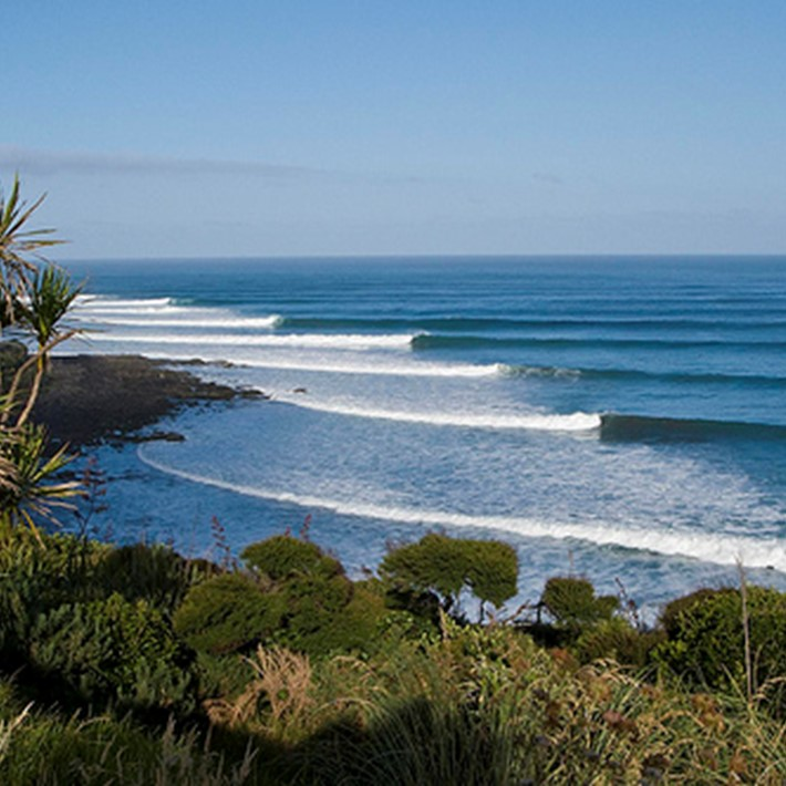 Left hand surf break, Raglan, New Zealand