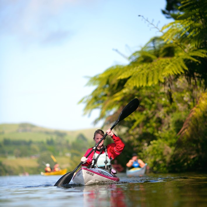 Kayaking on Lake Karapiro, Cambridge, New Zealand