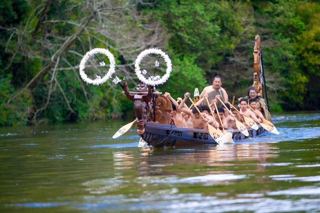 Waka on Waikato River, Waikato, New Zaland