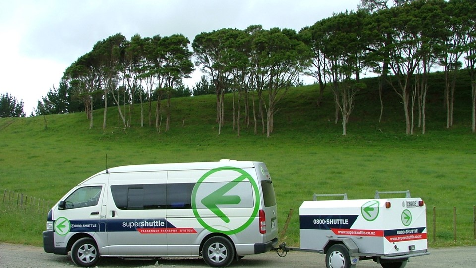 Supershuttle parked with trailer, Waikato, NZ.jpg