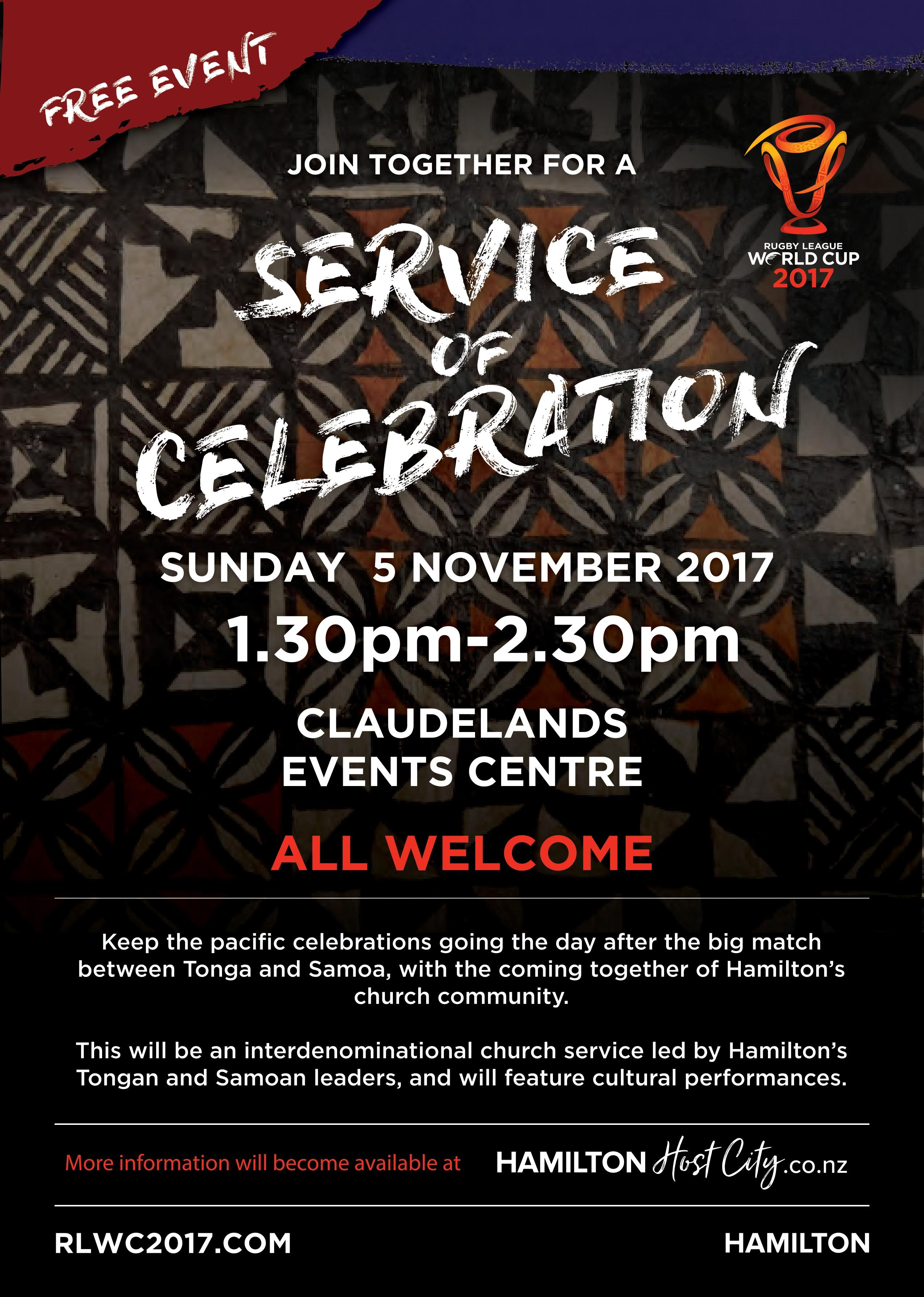 Rugby League World Cup Service of Celebration, Hamilton