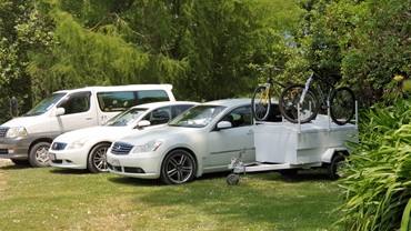 Some of our vehicles including luggage trailer and mountain bike transport