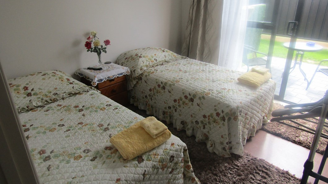 Twin single bed with courtyard. Twin bed with flat screen TV and free WiFi