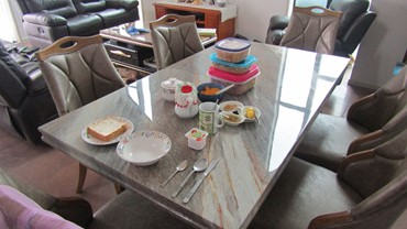 Just as hearty continental breakfast. Continental breakfast, corn flakes, muesli, peaches, yogurt, toast  with tea or coffee