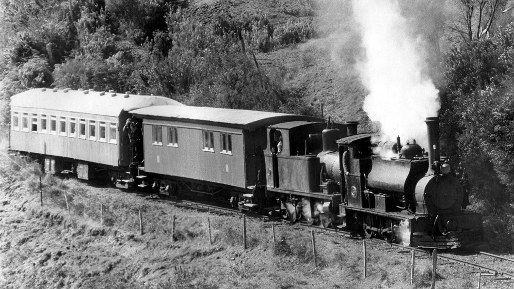 F 185 and Peckett 1630 pulling a train in the early days of the Club