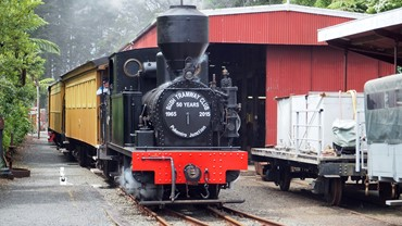 Peckett 1630 steaming into the station, celebrating 50 years of the Club and 100 years of the railway line