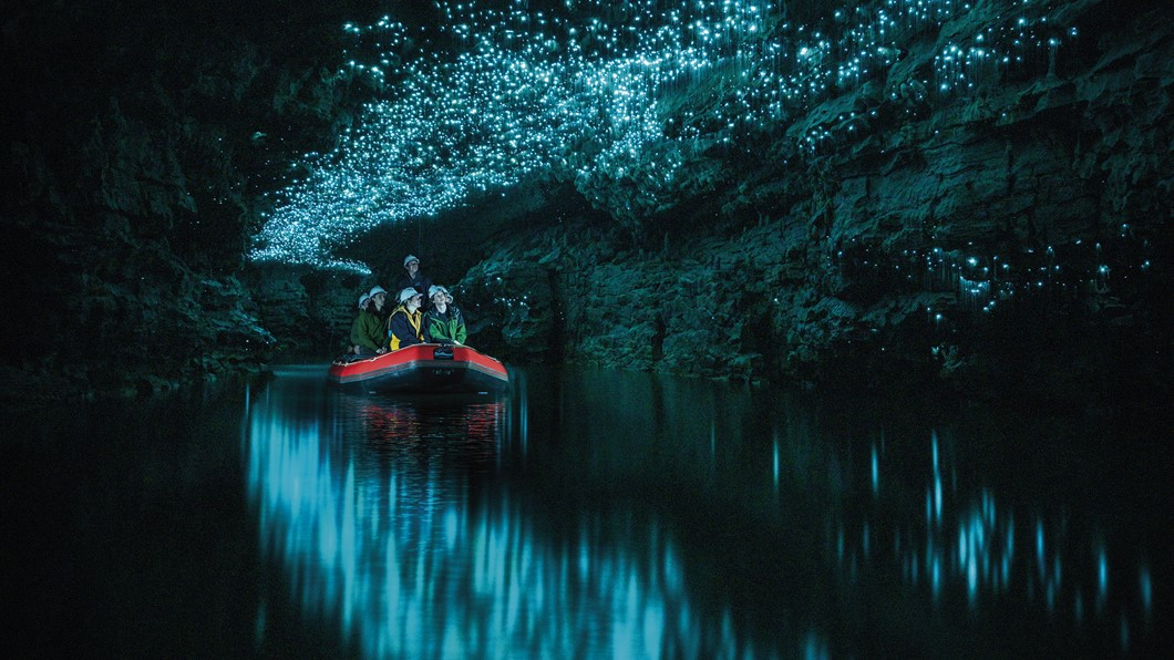 Float beneath a galaxy of Glowworms in a small group